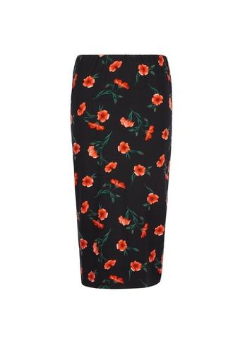 Womens Black 'Poppy' Floral Print Pencil Skirt