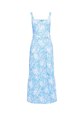 Womens Blue Floral Print Dress