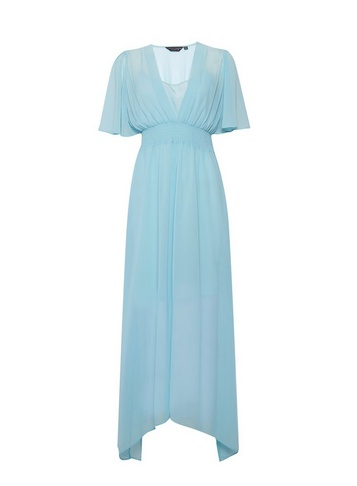 Womens Blue Kimono Maxi Dress - Green