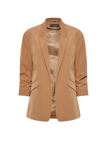 Womens Camel Ruched Sleeve Jacket - Brown