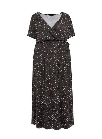 Womens Dp Curve Black Spot Print Maxi Dress - Multi Colour