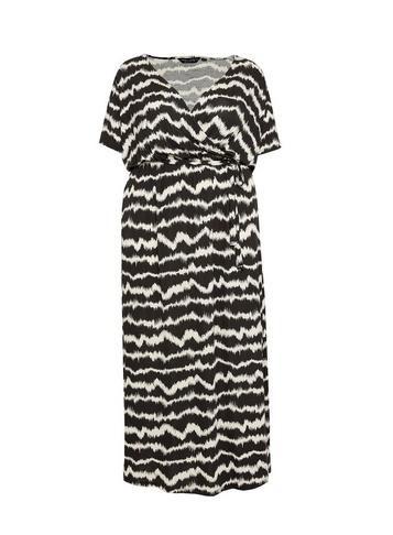 Womens Dp Curve Monochrome Ikat Print Wrap Dress - Multi Colour
