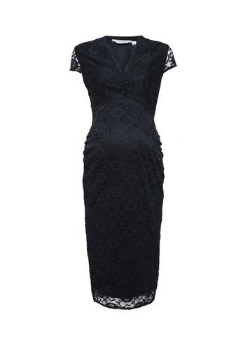 Womens Dp Maternity Black Lace V-Neck Bodycon Dress