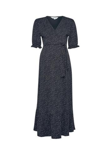 Womens Dp Maternity Black Spot Printed V-Neck Midi Dress