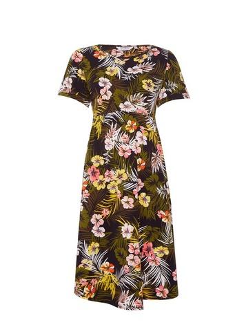 Womens Dp Maternity Multi Colour Floral Print Dress - Black