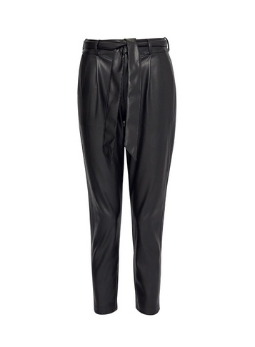 Womens Dp Petite Black Leather Look Belted Trousers
