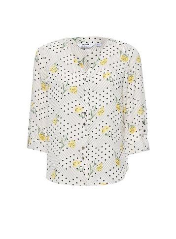 Womens Dp Petite Ivory Floral Print Roll Sleeve Shirt - White