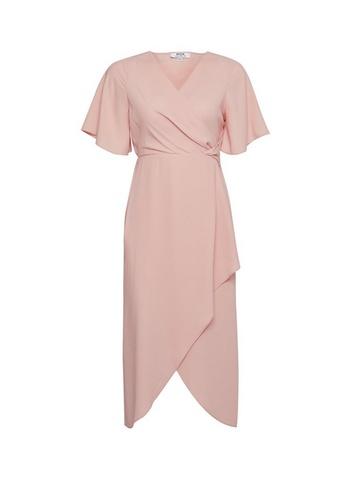 Womens Dp Petite Pink Twist Midi Dress