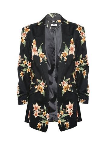 Womens Dp Tall Floral Print Jacket - Black