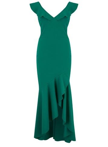 Womens Girls On Film Green Peplum Maxi Dress