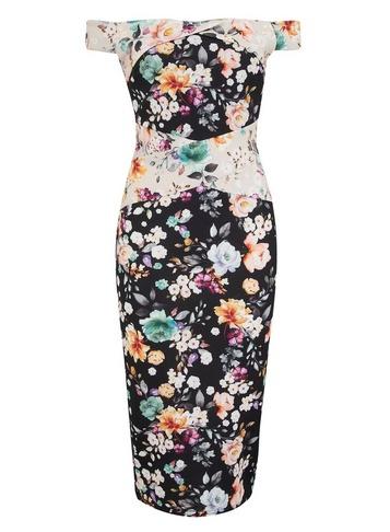 Womens Girls On Film Multi Colour Floral Print Bardot Dress - Fl Multi