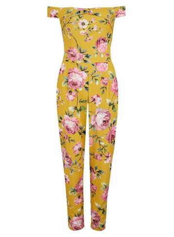 Womens Girls On Film Multi Colour Floral Print Bardot Jumpsuit - Fl Multi