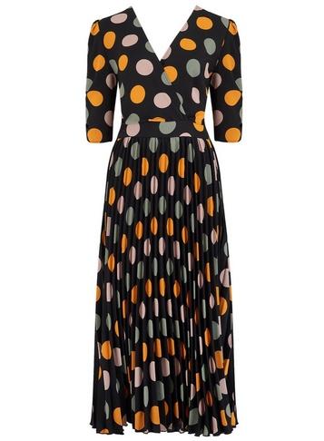 Womens Girls On Film Multi Colour Spot Print Midi Dress