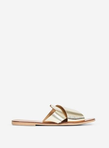 Womens Gold Leather 'Jimini' Sandals