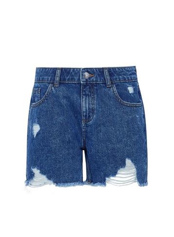 Womens Indigo Rip Boy Denim Shorts - Blue