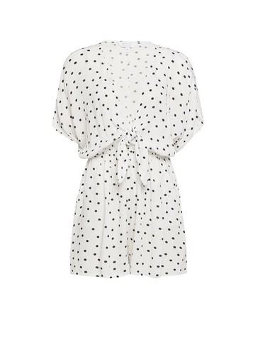 Womens Ivory Spot Print Knot Front Playsuit