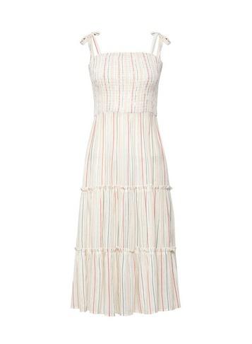 Womens Ivory Stripe Midi Dress - Multi Colour