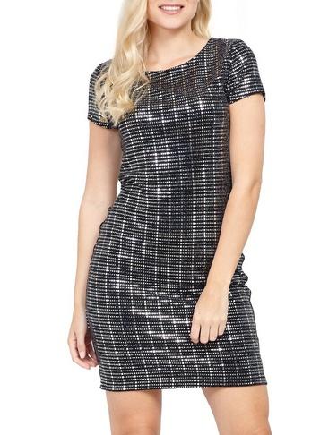 Womens Izabel London Silver Embellished Shift Dress
