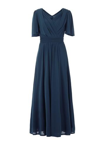 Womens Jolie Moi Blue Flute Sleeve Maxi Dress