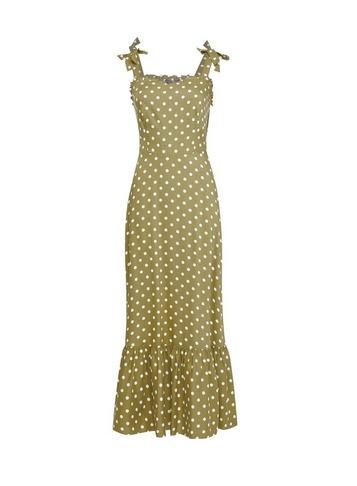 Womens Khaki Spot Print Tie Sundress