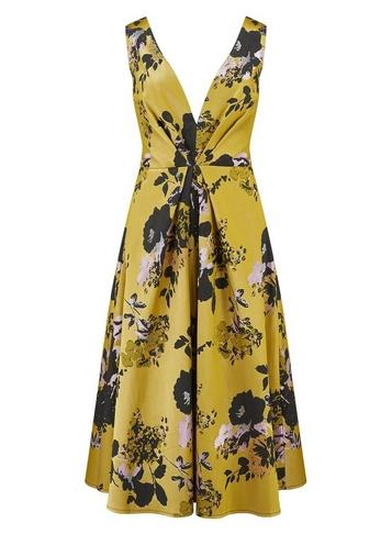 Womens Little Mistress Multi Colour Floral Print Jaquard Midi Dress
