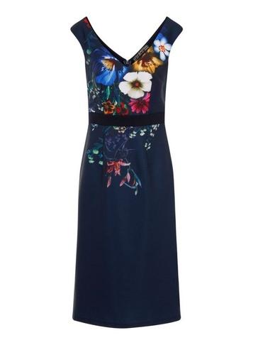 Womens Little Mistress Navy Floral Print Wiggle Bodycon Dress - Blue