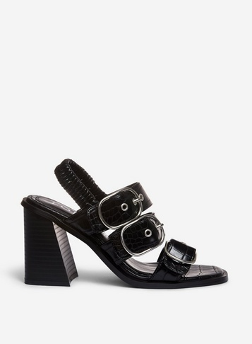 Womens Lola Skye Black 'Lockers' Buckle Sandals