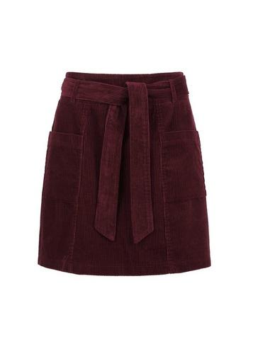 Womens Lola Skye Burgundy Paperbag Skirt - Red