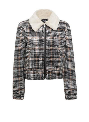 Womens Lola Skye Faux Fur Lined Check Jacket - Grey