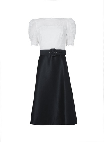 Womens Luxe Ivory And Black Burnout Belted 2-In-1 Midi Dress