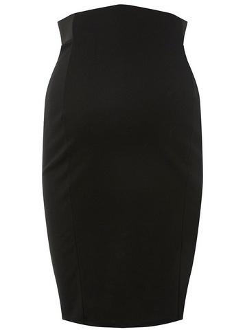 Womens Maternity Black Ponte Pencil Skirt