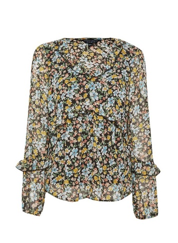 Womens Multi Colour Floral Print V-Neck Long Sleeve Top - Green