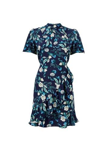 Womens Navy Floral Print Ruffle Skater Dress - Blue