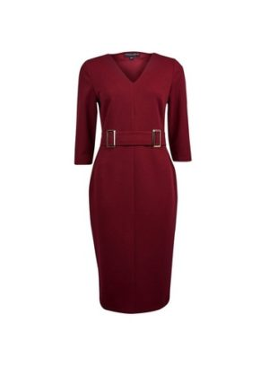 Womens **Oxblood Buckle Front Pencil Dress - Red