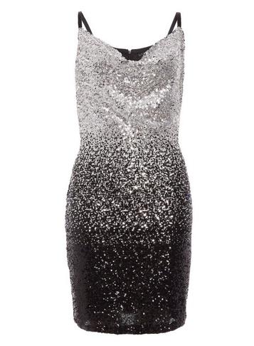 Womens Quiz Black Silver Bodycon Dress
