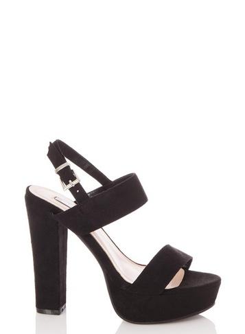 Womens Quiz Black Suede Heeled Sandals