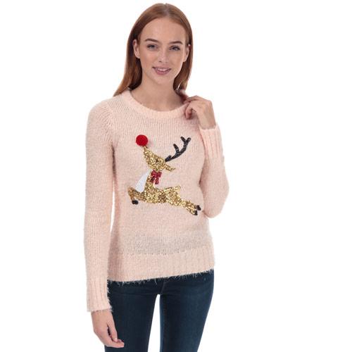 Womens Sequin Reindeer Christmas Jumper loving the sales