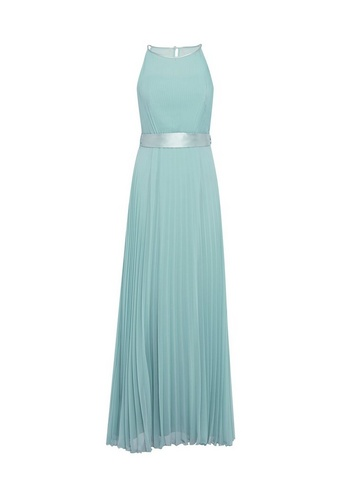 Womens Showcase Green Bridesmaids 'Thyme' Lucy Pleated Maxi Dress