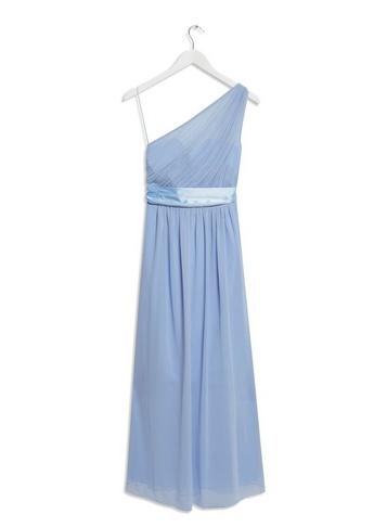 Womens Showcase Petite Blue Sadie One Shoulder Maxi Dress