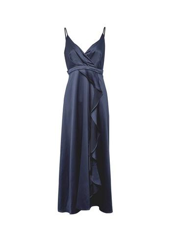 Womens Showcase Petite Navy Satin Maxi Dress - Blue