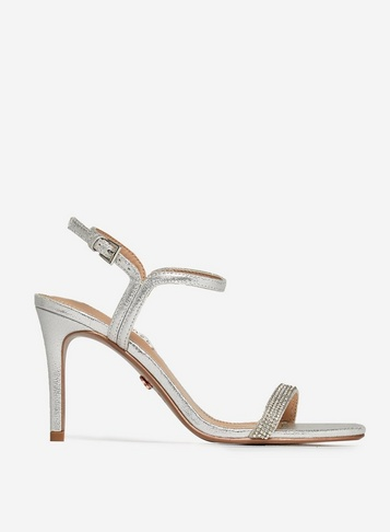 Womens Showcase Silver 'Blink' 2 Part Stiletto Sandals