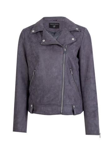 Womens Slate Suede Biker Jacket - Grey