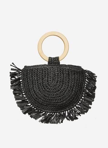 Womens Southbeach Black Straw Beach Bag