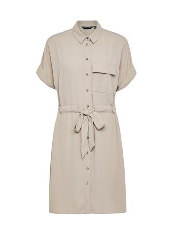 Womens Stone Drawstring Shirt Dress - Beige