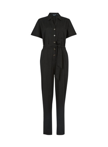 Womens Tall Black Utility Woven Jumpsuit