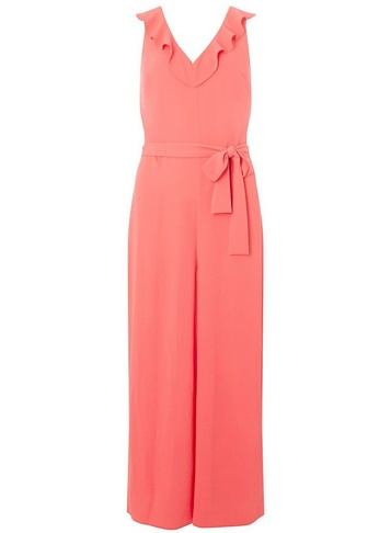 Womens Tall Coral Ruffle Culotte Jumpsuit