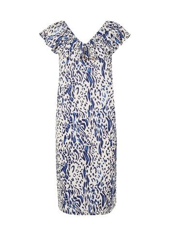 Womens Tall White Leopard Print Frill Dress - Multi