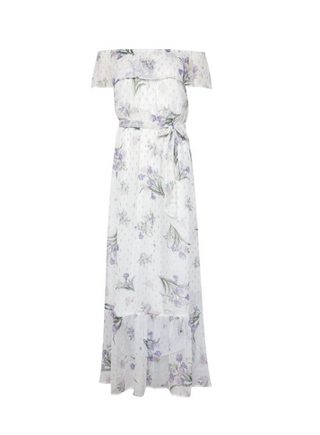Womens White Chiffon Bardot Maxi Dress