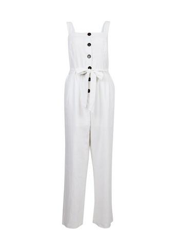 Womens White Linen Blend Mix Jumpsuit