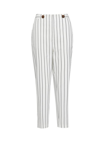 Womens White Pinstriped Ankle Grazer Trousers